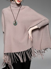 Coffee High Neck Tassels Cape Blouse