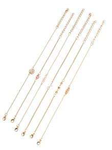 Gold Tone Embellished Link Bracelet Set
