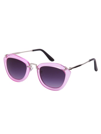 Pink Clear Bold Frame Metal Arm Square Sunglasses