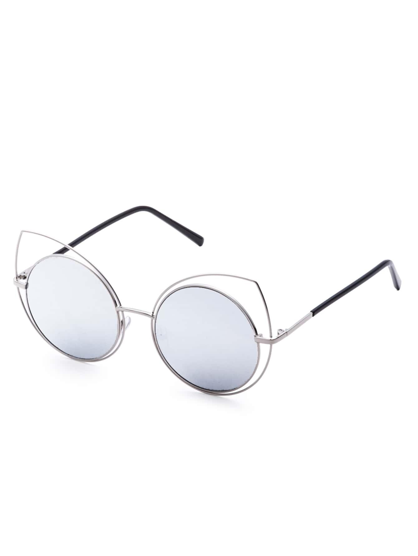 Silver Frame Mirrored Lens Cat Eye Sunglasses