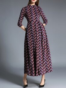 Multicolor Chevron Pockets Maxi Dress