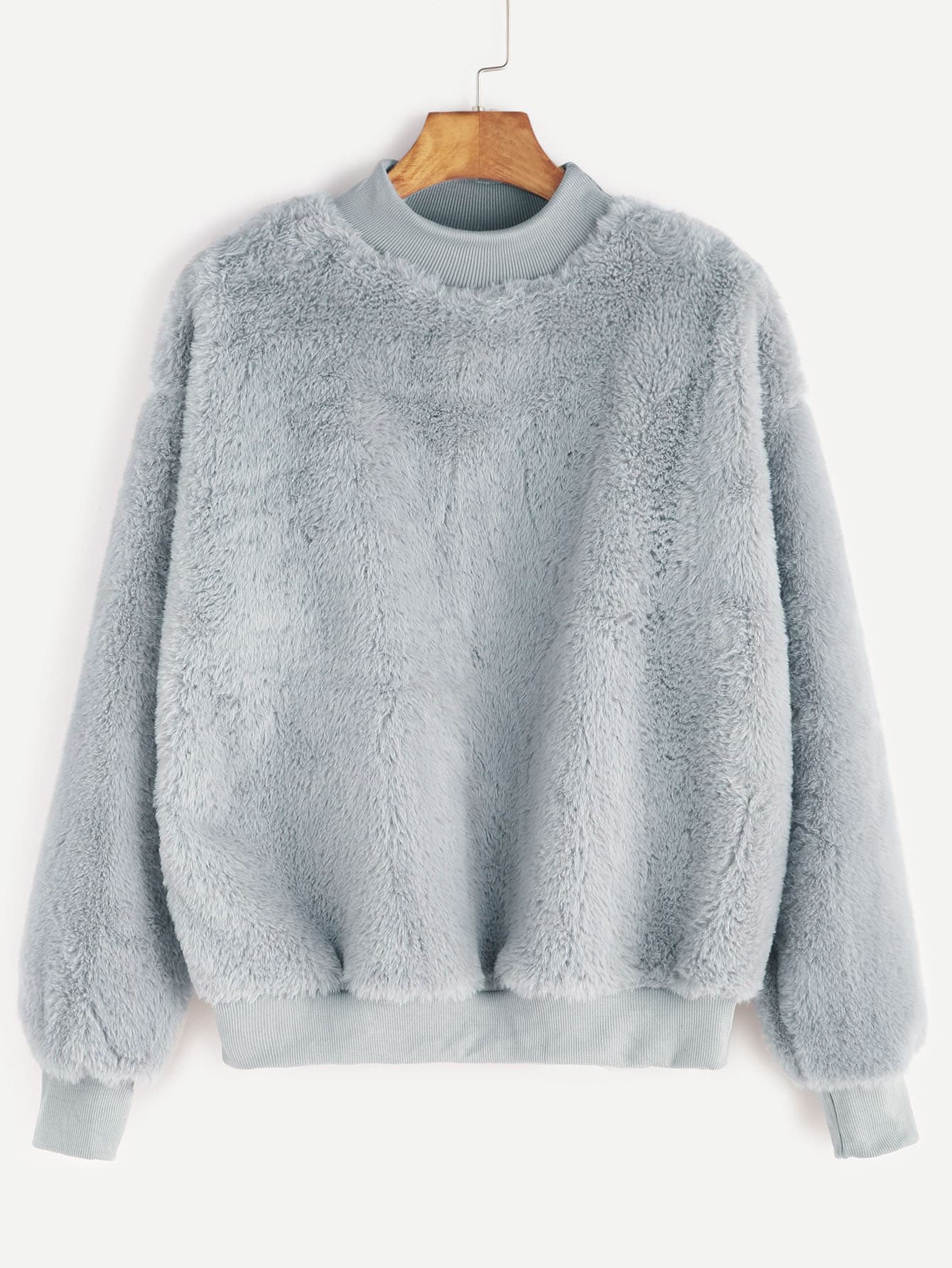 Contrast Ribbed Trim Drop Shoulder Fluffy Sweatshirt sweatshirt161121108