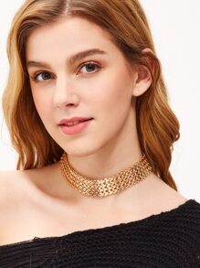 Gold Plated Metal Minimalist Wide Choker
