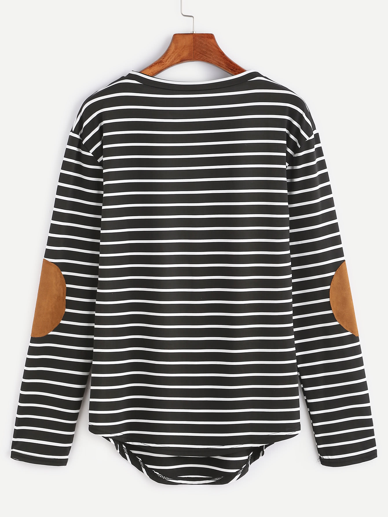 elbow patch template - black elbow patch striped t shirt shein sheinside