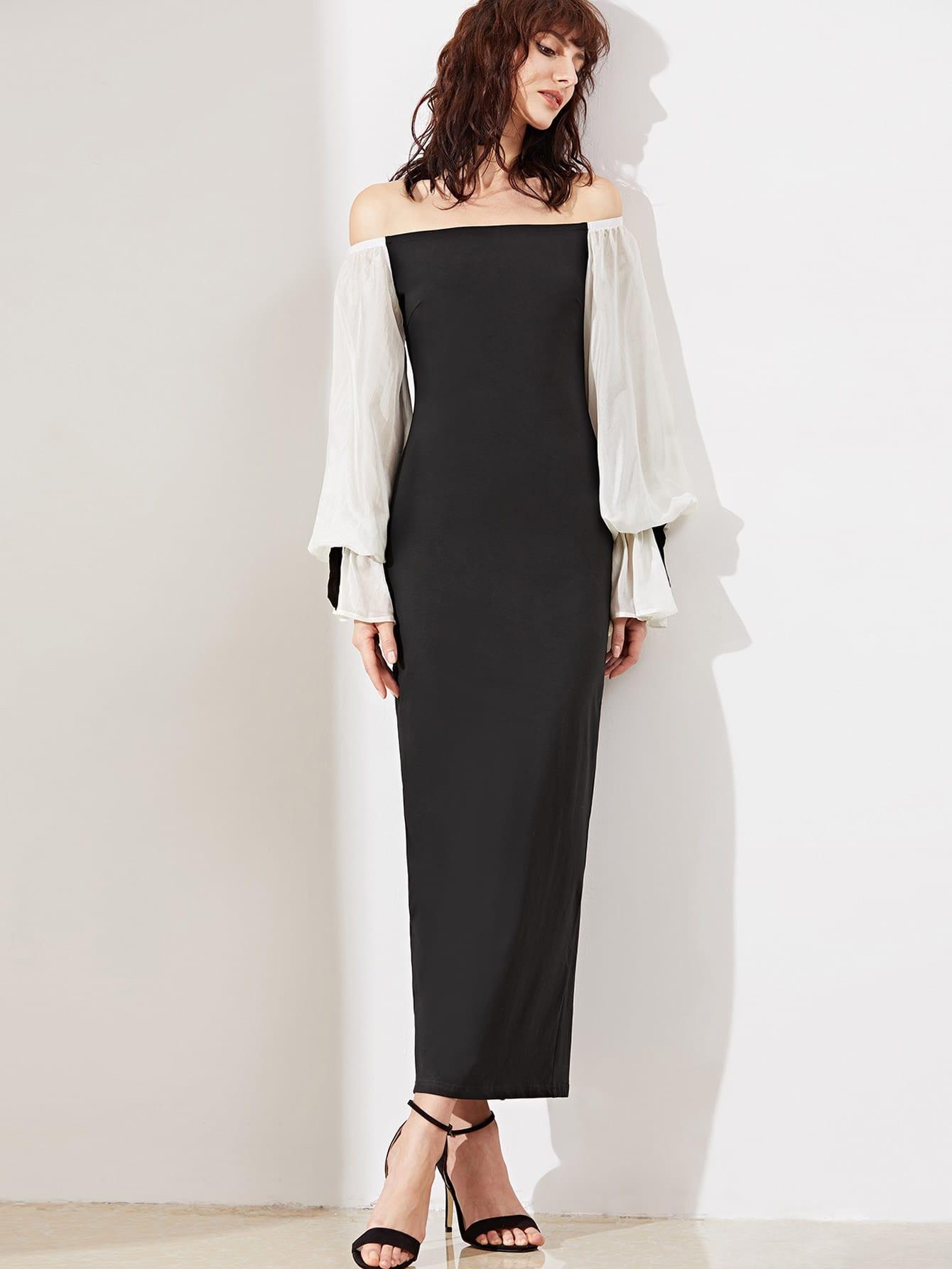 Фото Contrast Bishop Sleeve Off Shoulder Dress. Купить с доставкой