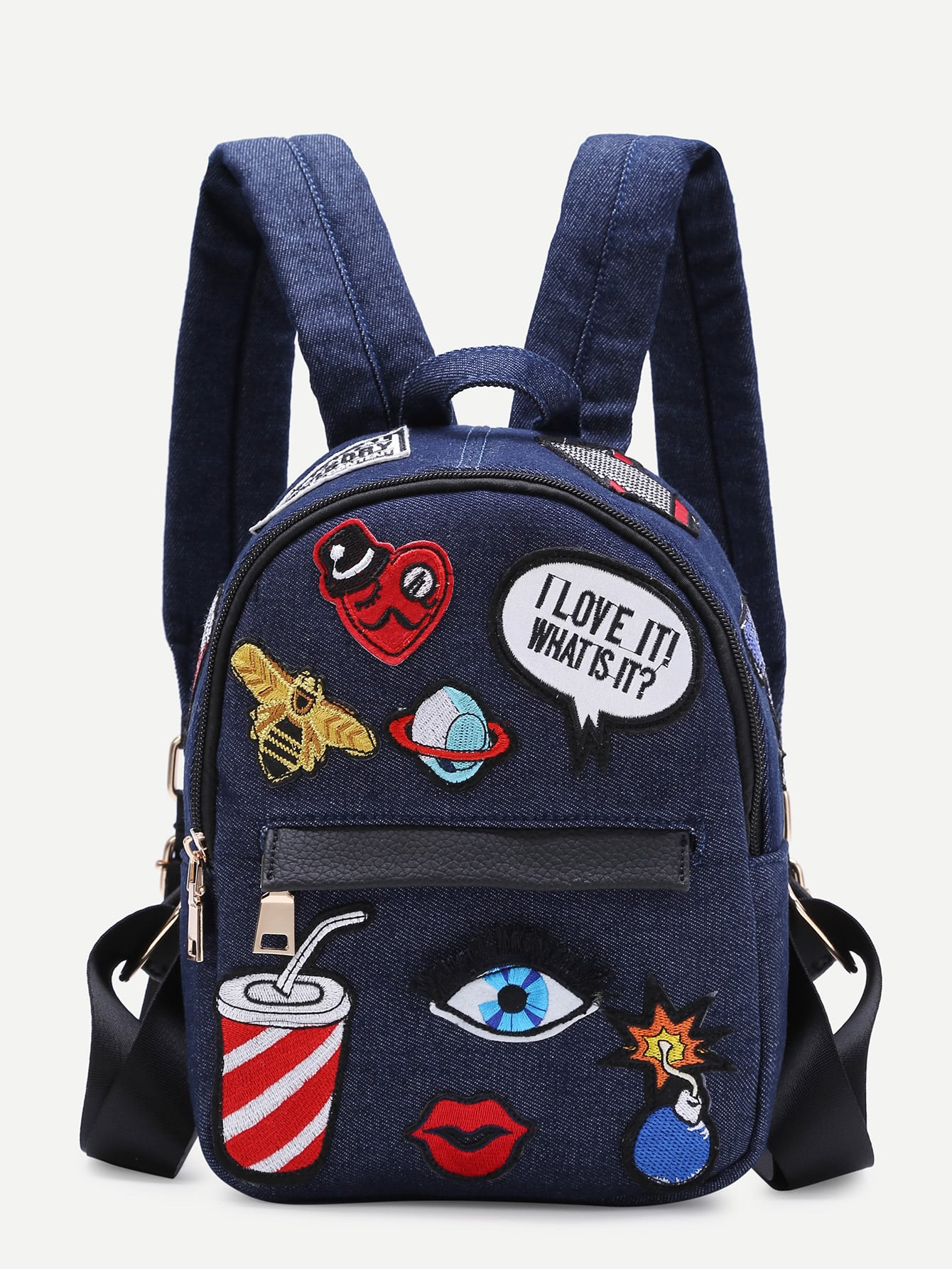 Dark Blue Zip Front Cartoon Patch Mini BackpackDark Blue Zip Front Cartoon Patch Mini Backpack<br><br>color: Navy<br>size: None