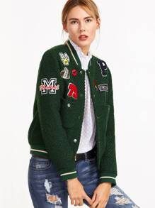 Green Striped Trim Textured Bomber Jacket With Patch Detail