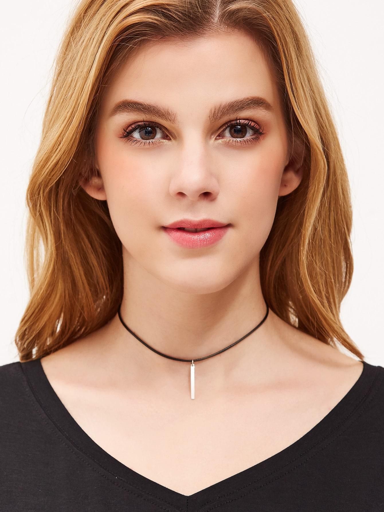 Фото Silver Bar Pendant Minimalist String Choker. Купить с доставкой
