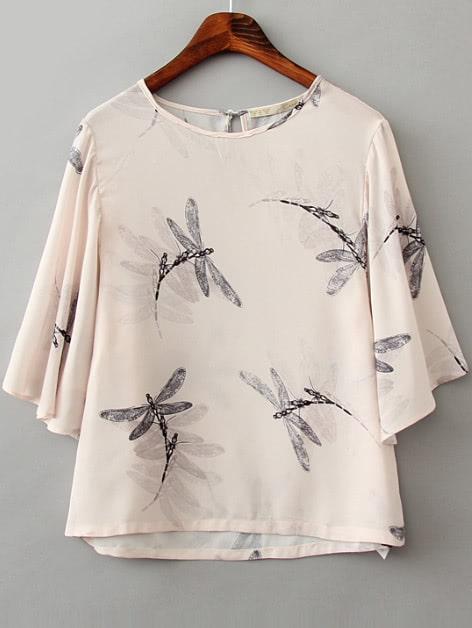 Beige Dragonfly Print Half Sleeve Blouse blouse161227202