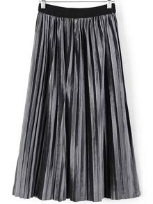 Grey Pleated Velvet Midi Skirt