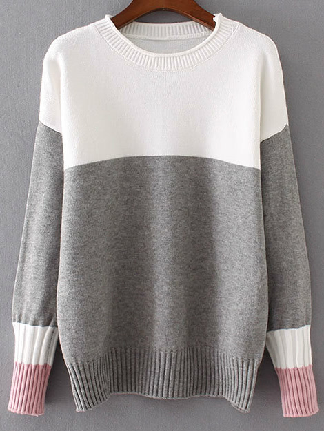 Color Block Ribbed Trim Drop Shoulder Sweater sweater161214203