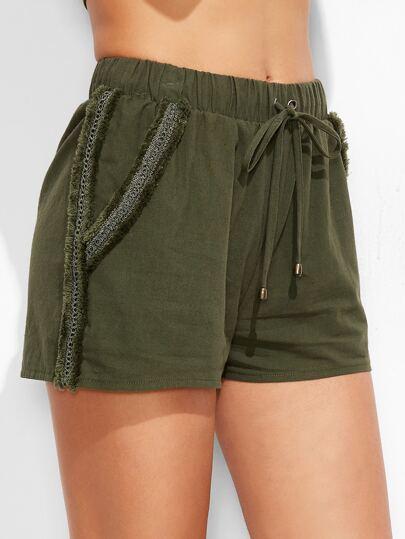 Frayed Lace Trim Drawstring Waist Shorts