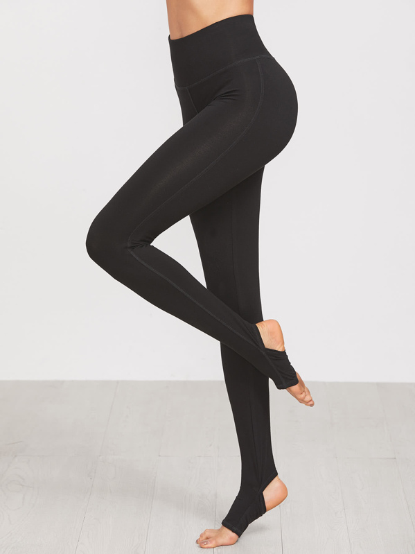 Wide Waistband Topstitch Stirrup Leggings, Andy
