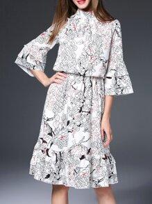 White Bell Sleeve Print Layered Dress
