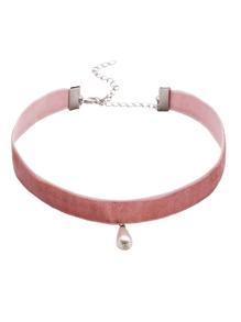 Pink Faux Pearl Pendant Velvet Choker Necklaces