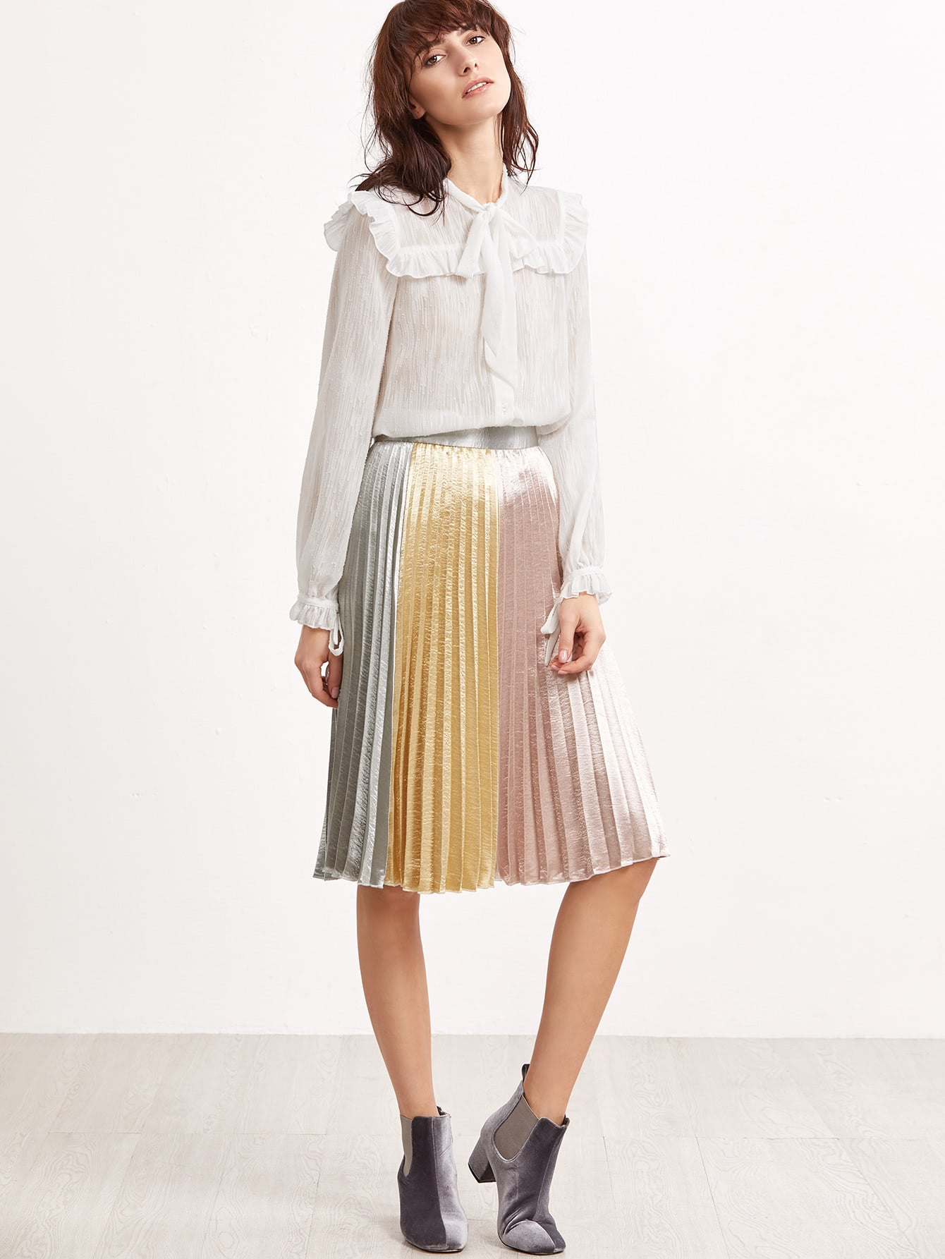 Buy Color Block Silky Pleated Skirt