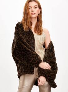 Leopard Print Drop Shoulder Faux Fur Jacket