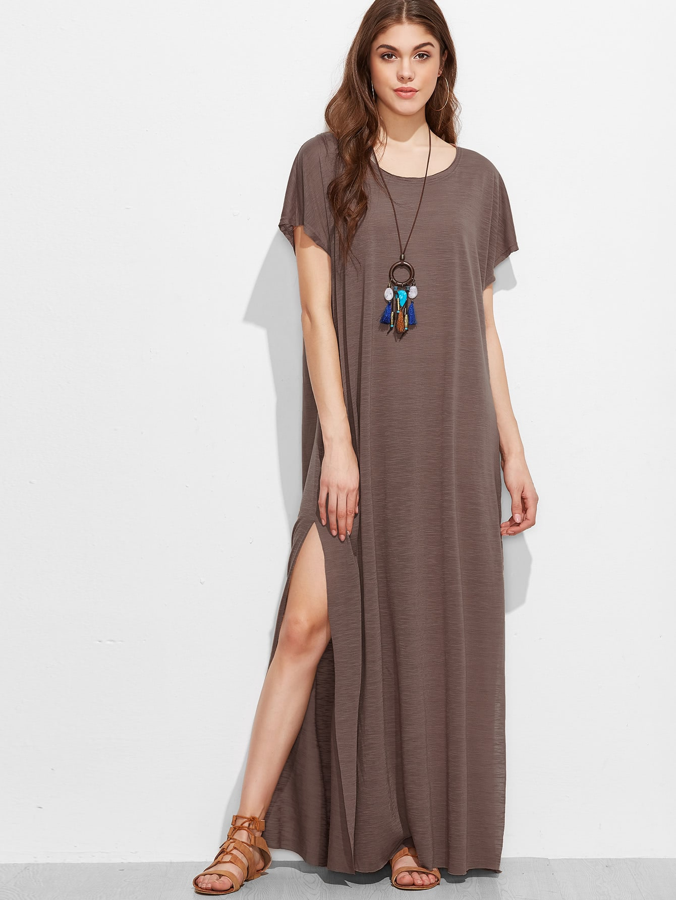 Split Side Full Length Dress pocket open shoulder split full length dress