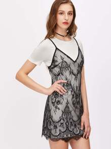 Contrast Lace Cami Dress With Insert Tee Dress