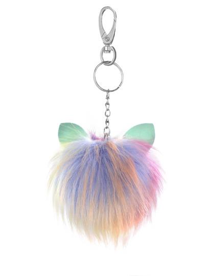 Porte-clés pompom coloré