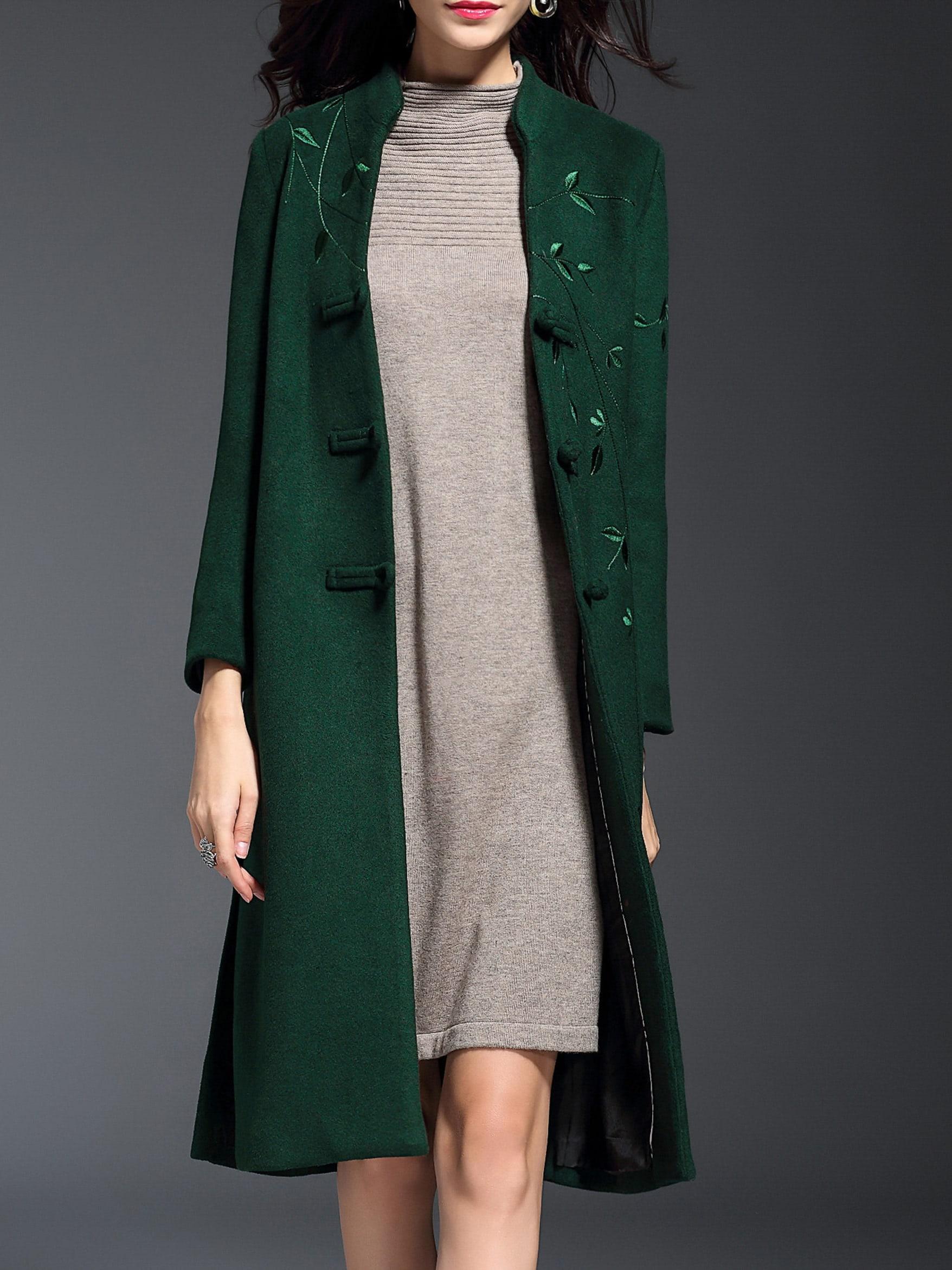 Фото Green V Neck Embroidered Pockets Split Coat. Купить с доставкой