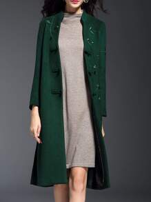 Green V Neck Embroidered Pockets Split Coat