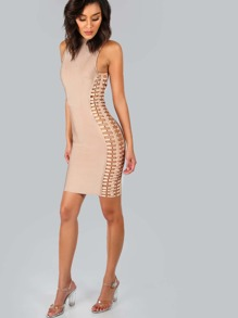 Mock Side Bar Bandage Dress NUDE
