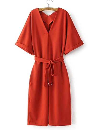 Orange V Neck Loose Kimono Dress
