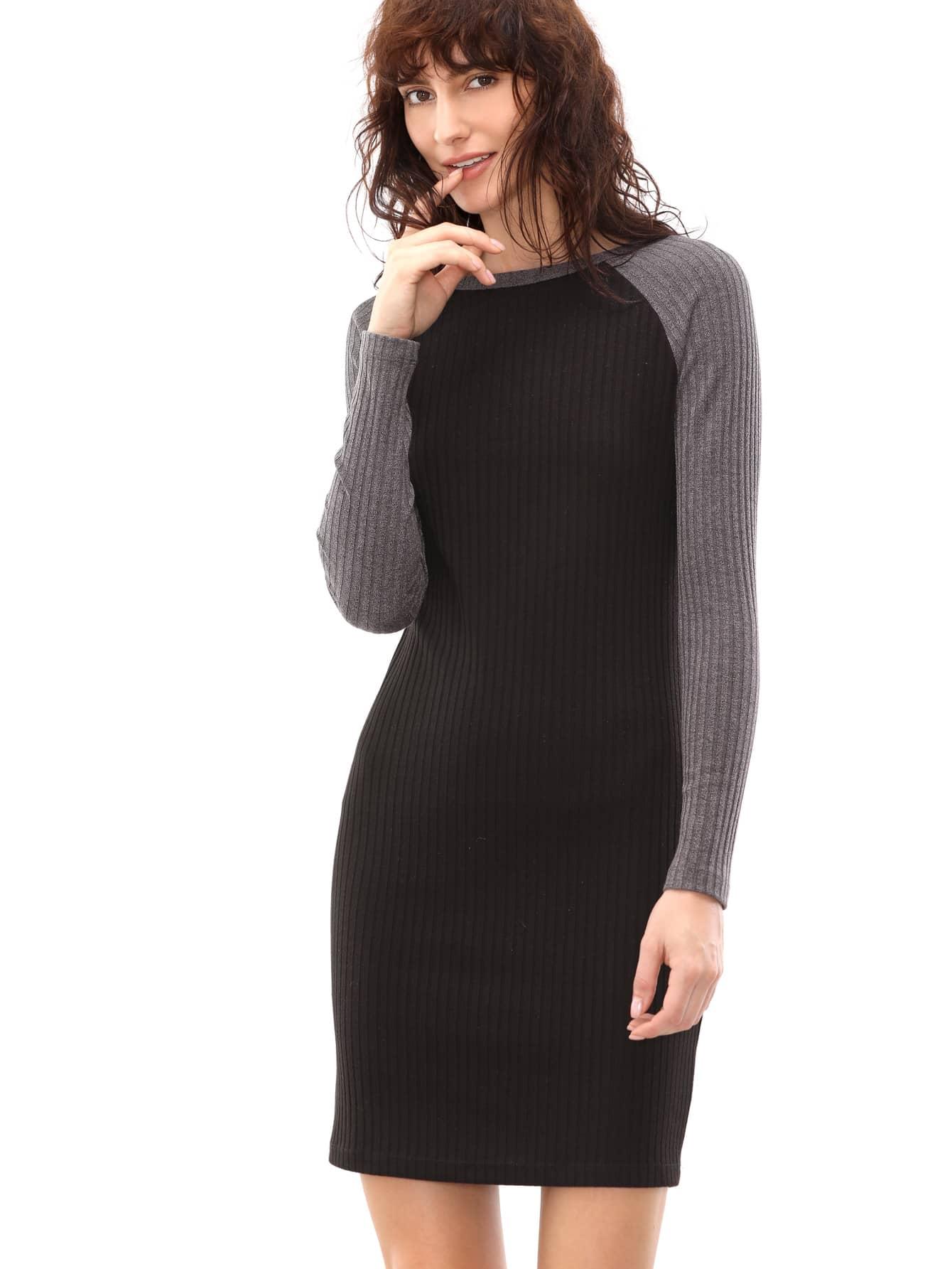 Фото Black Ribbed Knit Contrast Raglan Sleeve Sheath Dress. Купить с доставкой