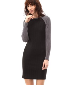 Black Ribbed Knit Contrast Raglan Sleeve Sheath Dress