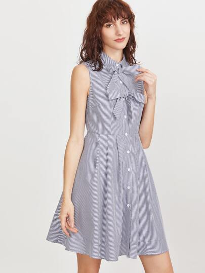 Navy Striped Bow Detail Button Up Sleeveless Shirt Dress