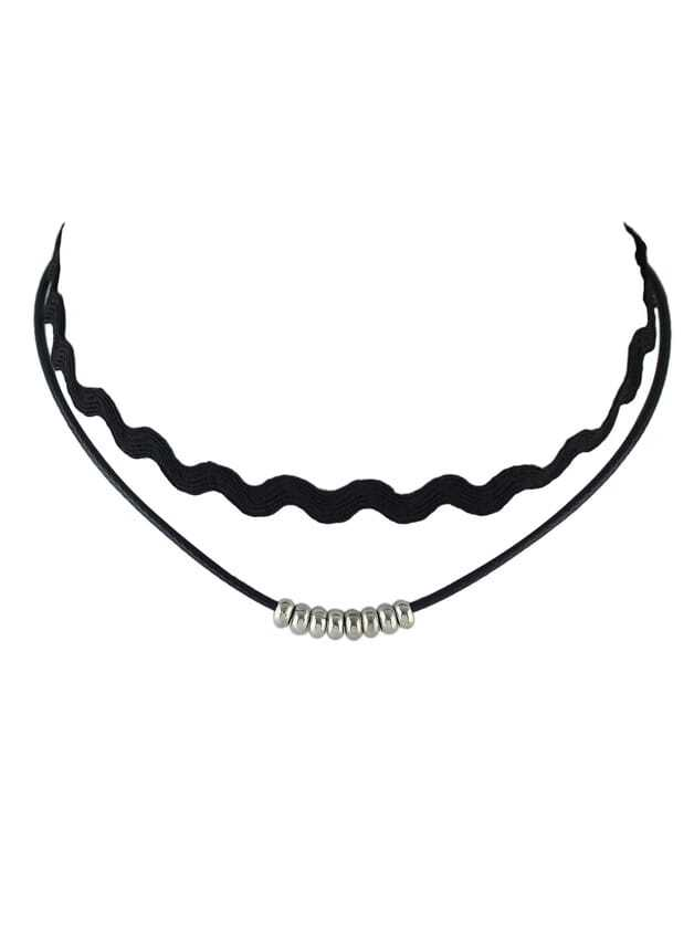 Silver Double Layers Choker NecklaceSilver Double Layers Choker Necklace<br><br>color: Silver<br>size: None