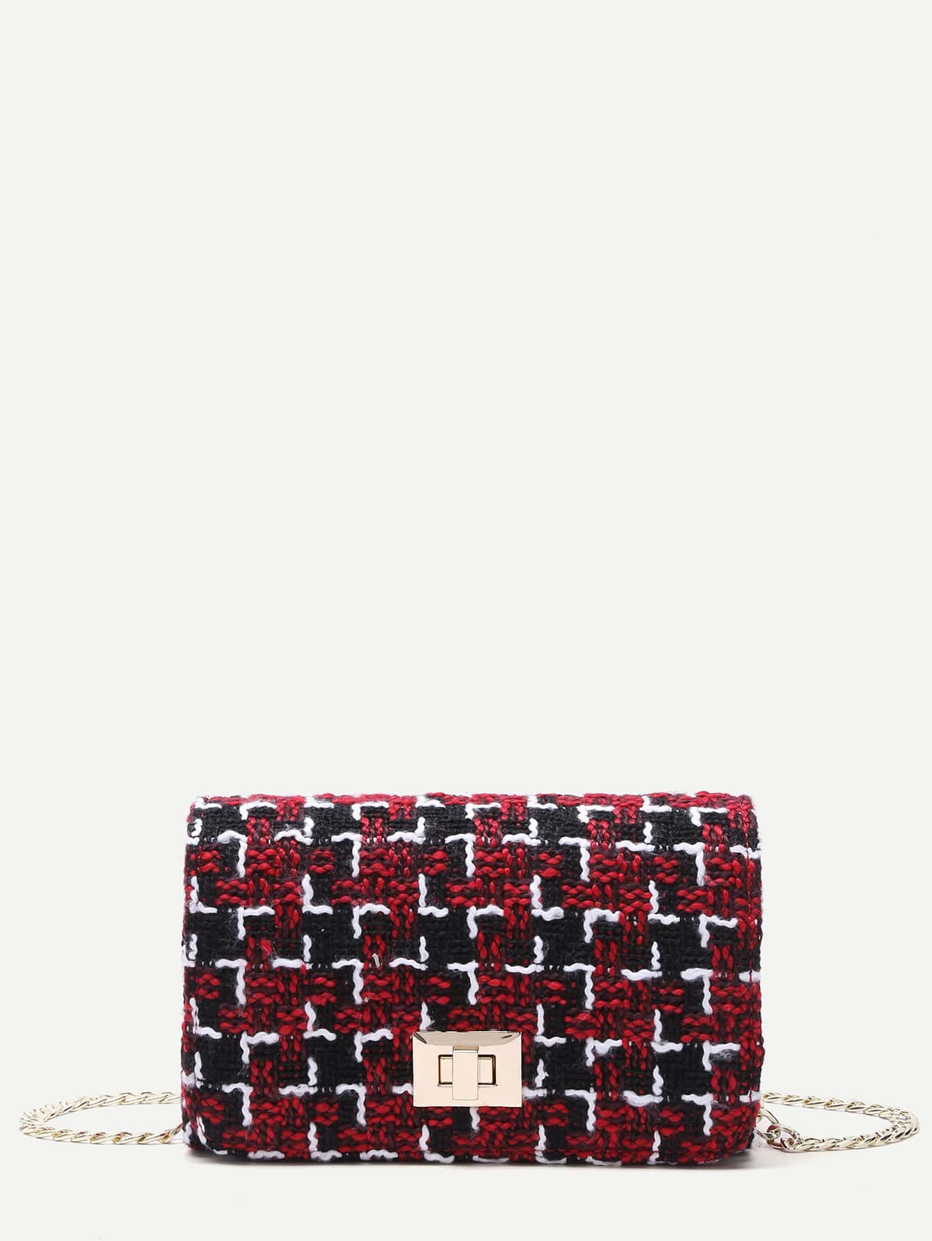Red Plaid Twistlock Closure Boxy Chain Bag Image