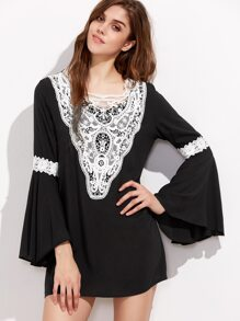 Black Bell Sleeve Contrast Crochet Trim Dress