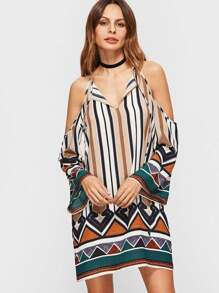 Multicolor Geometric Print Open Shoulder Dress