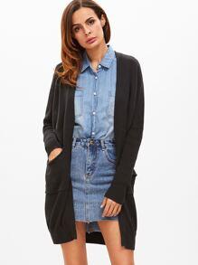 Black Drop Shoulder Cardigan With Pockets