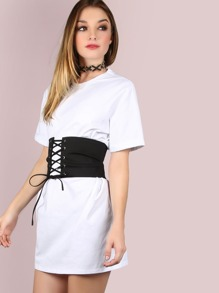 Belted Corset Shirt Dress pictures