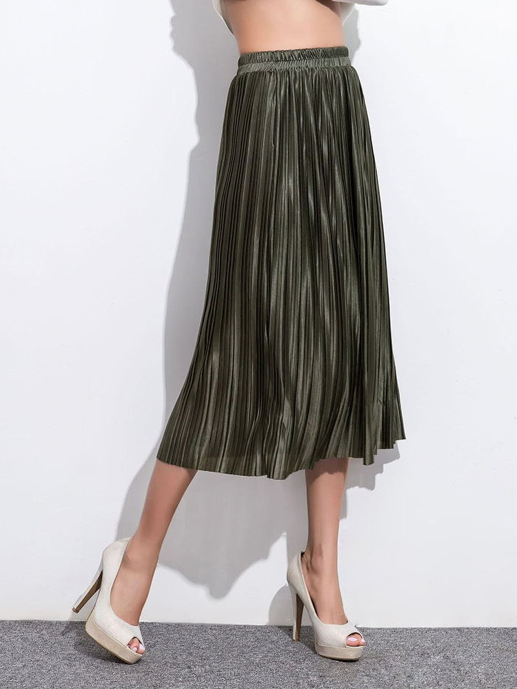 Army Green Elastic Waist Pleated SkirtArmy Green Elastic Waist Pleated Skirt<br><br>color: Green<br>size: one-size