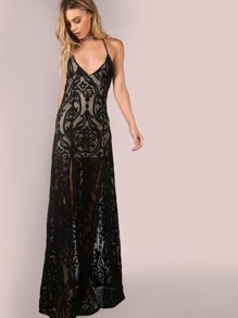Backless Mesh Filigree Applique Maxi Dress BLACK