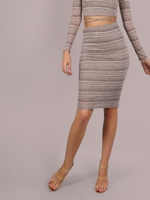 Striped Lurex Midi Skirt BROWN