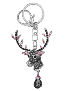 Gem Inlaid Deer Head Pendant Keychain