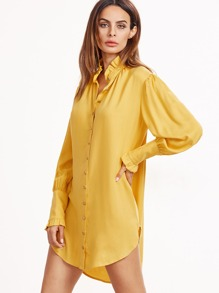 Yellow Ruffle Collar And Bishop Sleeve Shirt Dress