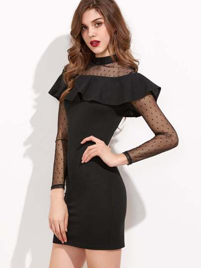 Black Dotted Mesh Shoulder And Sleeve Ruffle Bodycon Dress