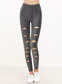Silver Ripped Sparkle Leggings
