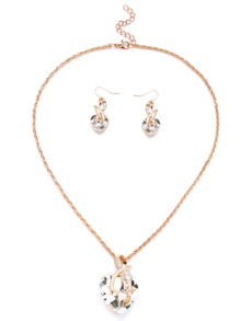 Gold Tone Heart Shape White Gem Link Necklace Set
