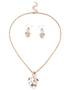 Collection de collier doré forme de cœur en gemme - blanc