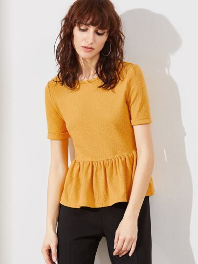 Roll Cuff Textured Peplum Top