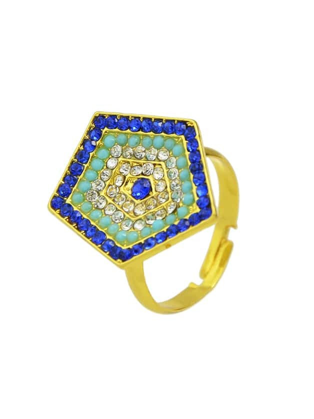 Gold Color Rhinestone Adjustablepentagon Rings