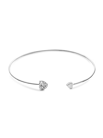Heart Shaped Inlay Argent Bracelet Cristal