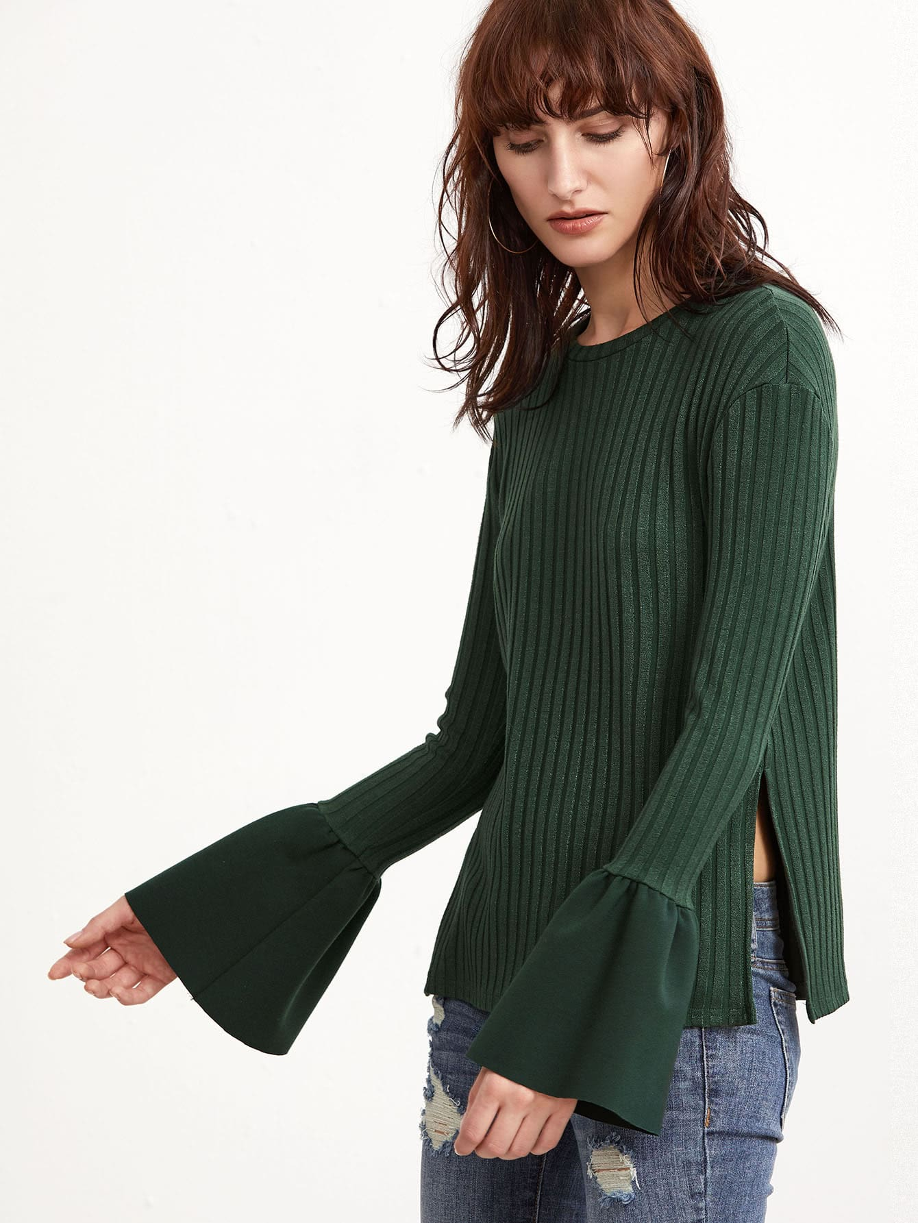 Green Ribbed Knit Bell Cuff Side Slit T-shirt tee161201708